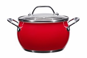 Metallic red cooking pot