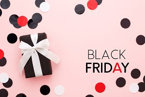 Black friday card, gift & confetti.