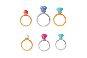 Jewelry Set of Rings with Gems of