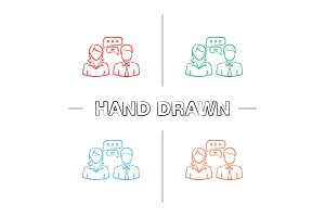 Business chat hand drawn icons set