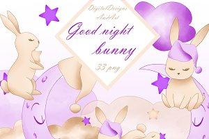 Good night bunny in purple