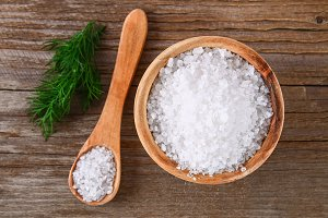 Crystals of large sea salt in a wood