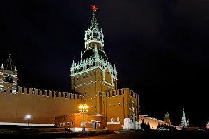 Spasskaya Tower and Moscow Kremlin