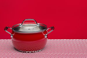 New steel kitchen pot for cooking