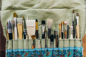 Brushes. Paintbrush collection top