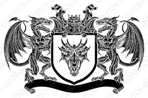 Emblem Shield Dragon Heraldic Crest
