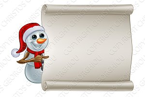 Snowman In Santa Hat Christmas Sign