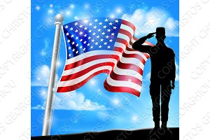 Saluting Soldier Patriotic American