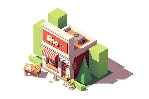 Vector isometric shop branding icon