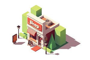 Vector isometric shop opening icon