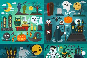 Halloween characters posters set.