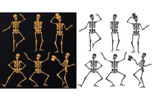 Vector dancing Skeletons set.