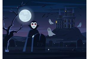 Dracula vampire with night castle.