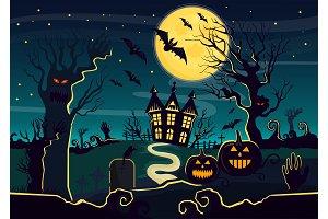 Mystery house, halloween pumpkins