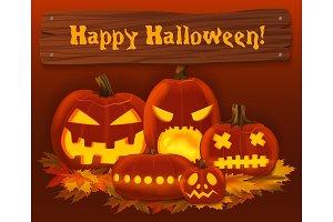 Halloween pumpkin vector background.