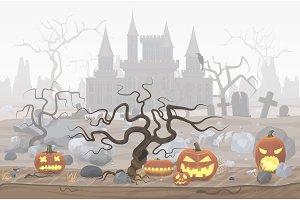 Foggy halloween castle landscape