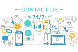 Contact us support concept