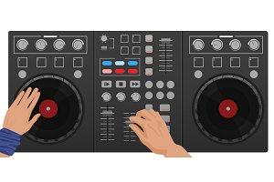 DJ hands playing vinyl.