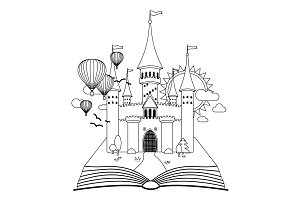 Fairy-tale castle on book