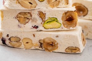 Nougat on white background. Copy