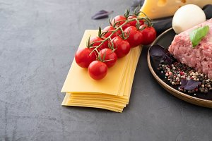 Ingredients for Italian lasagna with