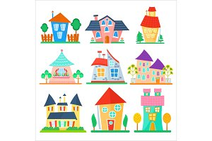 Cute cartoon houses collection