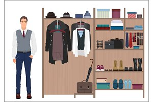 Stylish man wardrobe.