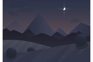 Night cartoon mountain Landscape