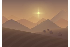 Cartoon sunset mountain Landscape.