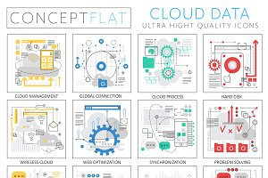Cloud data tech concept icons