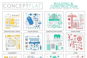 Building construction concept icons.