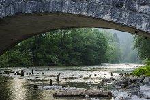River under the bridge at Bohinj
