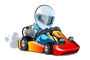 Cartoon kart racer isolated on white