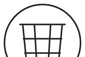Basket for paper stroke icon, logo