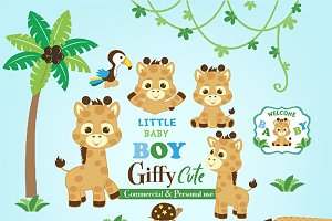 Giraffe clipart for little baby boy