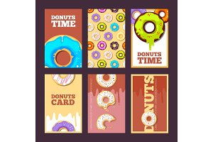 donuts cards. glazed sweet hot ring