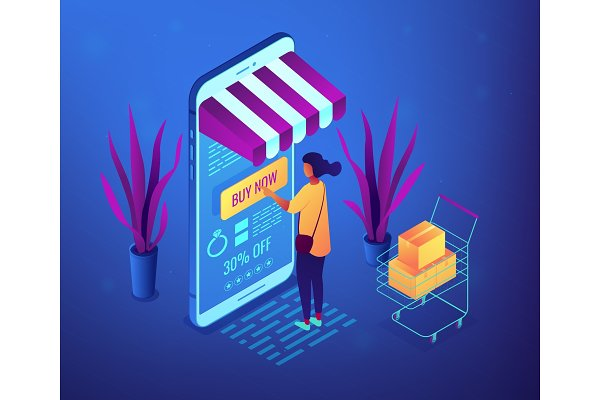 Online purchase concept vector