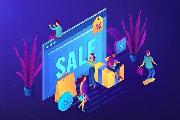 Online sales pro concept vector