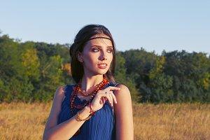 Pretty young boho (hippie) girl
