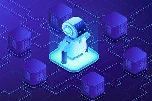 Robotics networking concept vector