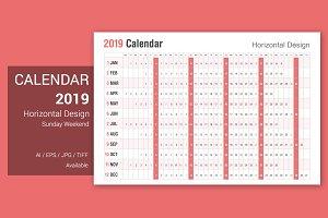 Calendar 2019 Horizontal Style