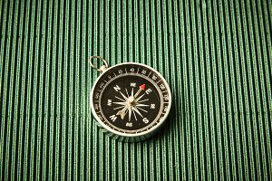 Magnetic compass On Paper Green