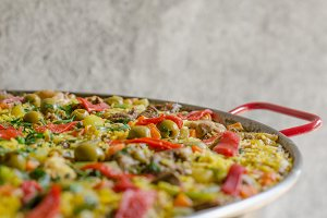 Close up of spanish paella.