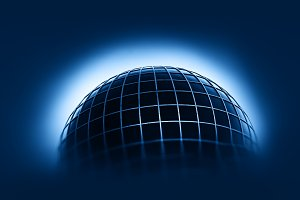 Earth globe with grid background