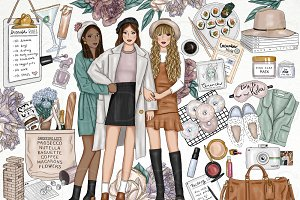 Best Friends Fashion Girl Clip Art