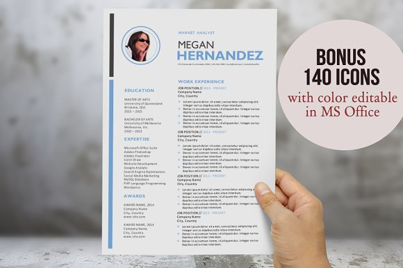 Modern 3 in 1 photo Word resume