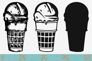 ice cream svg set eps