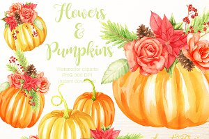 Flowers and pumpkins clipart