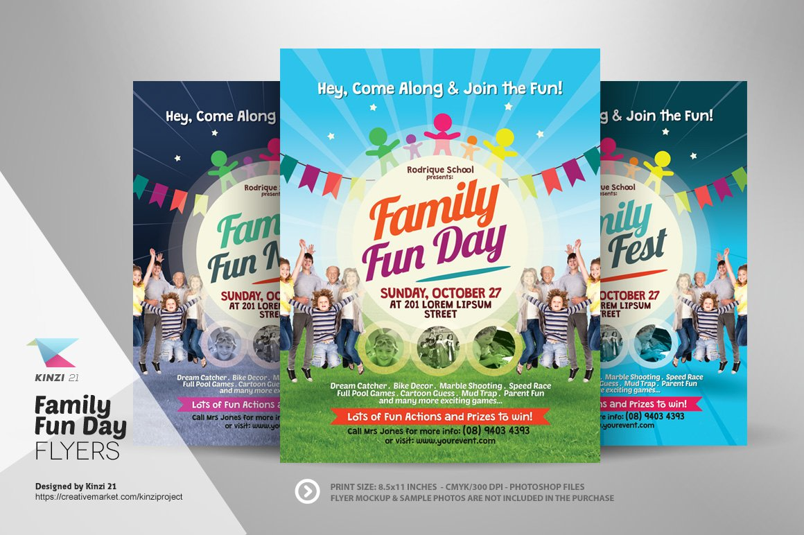 Family Fun Day Flyers Flyer Templates Creative Market - Fun brochure templates