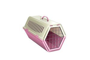 Cat carrier. Pink and beige cat cage